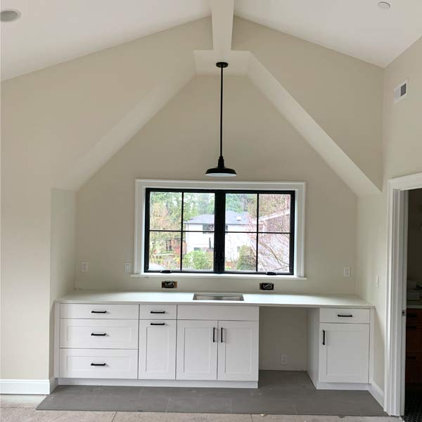 Vaulted Rec Room with Kitchenette image